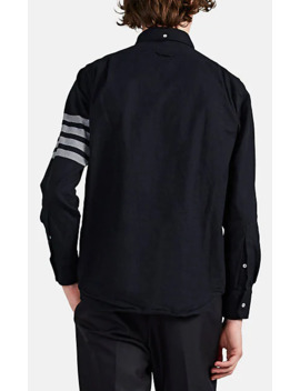 Stripe Trimmed Cotton Flannel Shirt by Thom Browne