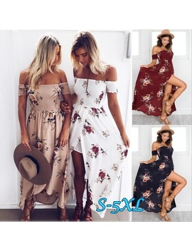 Boho Style Womens Sexy Off Shoulder Floral Print Dress Summer Beach Maxi Dresses Big Size S 5 Xl by Wish