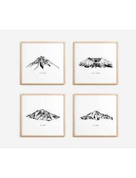 Washington State Mountains Polygonal Drawings Art Print Collection by Etsy