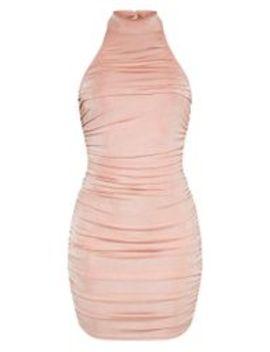 Robe Moulante Froncée Rose Pâle Slinky Effet Texturé à Col Haut by Prettylittlething