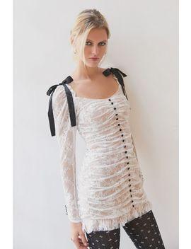 for-love-&-lemons-beverly-pleated-lace-mini-dress by for-love-&-lemons
