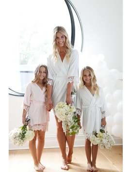 Flower Girl Robe // Bridal Robe // Bride Robe // Bridal Party Robes // Bridesmaid Gift // Silky Robe // Satin Robe // Robe // Lauren by Etsy