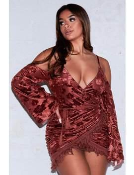 brown-cold-shoulder-tassel-wrap-dress by hidden-fashion