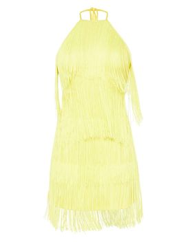 Tall Yellow Fringe Detail Halterneck Dress by Prettylittlething