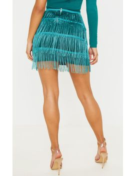 Emerald Green Tiered Fringe Mini Skirt by Prettylittlething