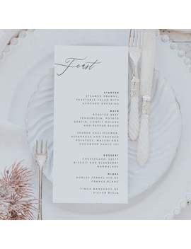 Stylish Dinner Menu Card   Wedding Menu Card   Personalised Dinner Menu   Wedding Place Setting   Printed by Etsy