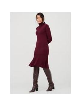Roll Neck Godet Hem Fit And Flare Knitted Dress   Plum  by V By Very