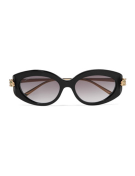 Round Frame Acetate And Gold Tone Sunglasses by Cartier