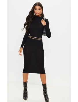 Black Rib Knitted Midi Dress by Prettylittlething