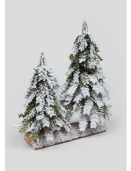 Mini Snowy Christmas Tree Ornament (27cm X 14cm) by Matalan