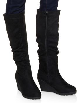 Tall Ruched Wedge Boots by Rainbow
