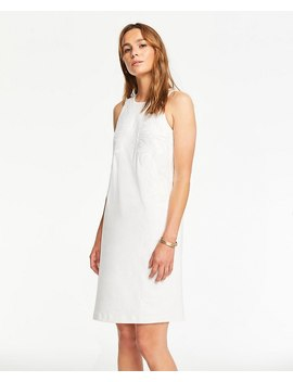 Embroidered Floral Linen Blend Shift Dress by Ann Taylor