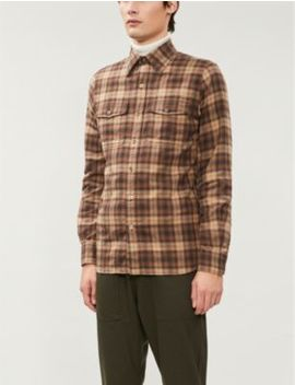 Checked Slim Fit Cotton Flannel Shirt by Tom Ford