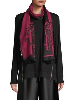 Colorblock Wool Blend Scarf by Roberto Cavalli