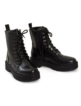 Shelikes Ladies Hi Top Platform Punk Ankle Pu Military Leather Lace Up Boots by Ebay Seller