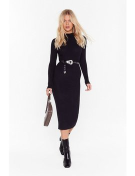 Blame Rib On Love High Neck Midi Dress by Nasty Gal