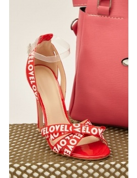 Logo Print Strap Heeled Sandals by Everything5 Pounds