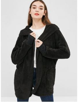 Hot Sale Solid Color Hooded Fluffy Teddy Coat   Black S by Zaful