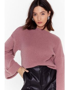 Bring Knit On Wide Sleeve Ribbed Sweater by Nasty Gal