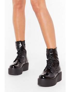Walk With Me Faux Leather Platform Boots by Nasty Gal
