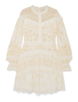 Ava Lace Trimmed Embellished Tulle Mini Dress by Needle & Thread