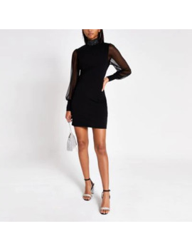 Black Bodycon High Neck Sheer Sleeve Dress by River Island