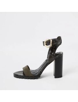 Khaki Embossed Cleated Block Heel Sandal by River Island