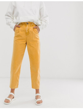 Asos Design   Pantalon Fonctionnel Style Militaire Avec Taille Haute Froncée   Délavage Tache De Thé by Asos Design