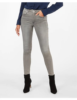 High Waisted Grey Cozy Fleece Jean Ankle Leggings by Express