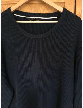 Crew Clothing Men's Xxl Navy Blue Ribbed Jumper 100% Cotton Vgc by Ebay Seller