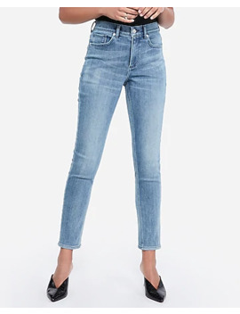 High Waisted Cozy Fleece Light Wash Jean Ankle Leggings by Express