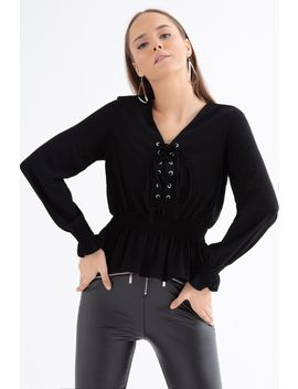 Black Lace Up Woven Blouse by Select