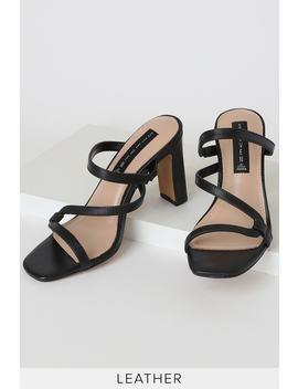 Jerri Black Leather High Heel Sandals by Steven
