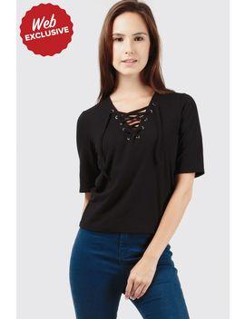 Black Lace Up Rib T Shirt by Select