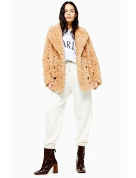 Camel Textured Borg Coat by Topshop
