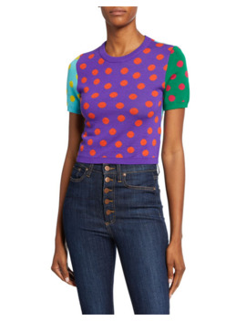 Ciara Dot Colorblock Crewneck Short Sleeve Reversible Sweater by Alice + Olivia