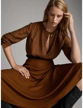 Plain 100% Silk Shirt by Massimo Dutti