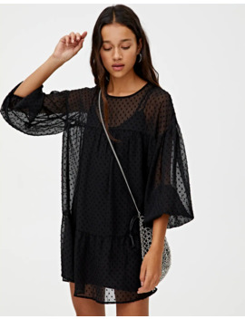 Black Dotted Mesh Dress With Panels by Pull & Bear