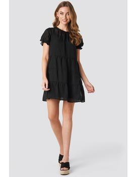 Round Neck Dobby Mini Dress Black by Na Kd Boho