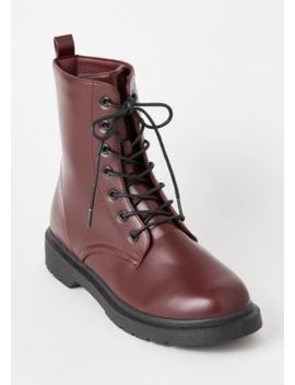 Burgundy Lace Up Combat Boots by Rue21