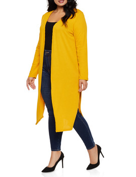 Plus Size Knit Side Slit Duster by Rainbow