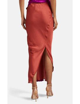 Washed Satin Draped Asymmetric Skirt by Juan Carlos Obando