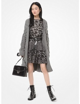Oversized Cable Knit Wool Blend Cardigan by Michael Michael Kors