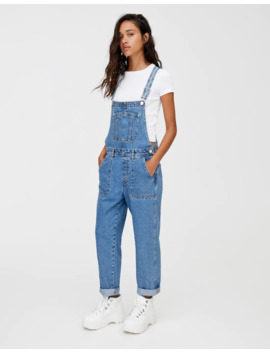 Long Denim Dungarees With Patch Pockets by Pull & Bear