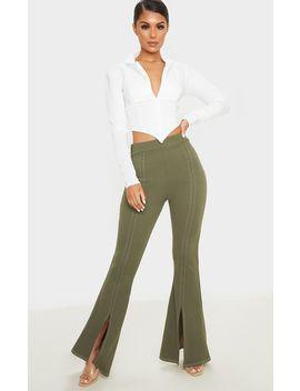 khaki-split-leg-flare-pants by prettylittlething