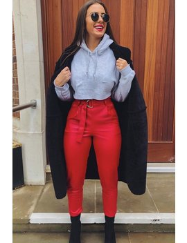Red Coated Belted Tapered Trousers   Reyna by Rebellious Fashion