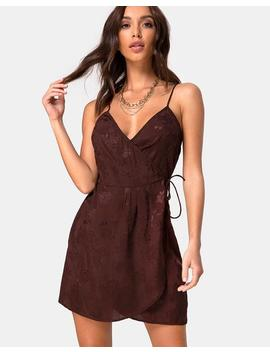 Furiosa Wrap Dress In Satin Rose Cocoa By Motel by Motel