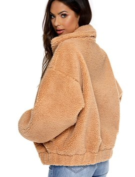 Downtown Teddy Jacket   Camel by Miss Lola