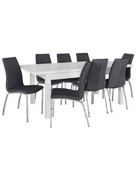 Argos Home Lyssa Xl Gloss Extending Table & 8 Black Chairs882/7663 by Argos