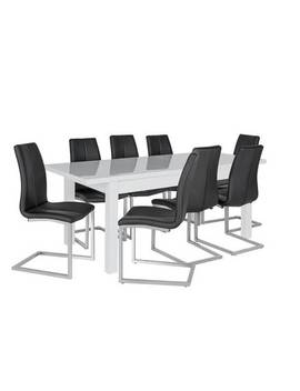 Argos Home Lyssa Extending Xl Gloss Table & 8 Chairs   Black920/2335 by Argos